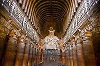 Carved chamber in Ajanta Caves, Adjanta Caves World  Heritage Site, India  Bhuddist cave paintings from the 2nd Century BC  Maharashtra State