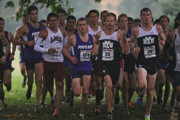 October 27, 2012; Portland, OR, USA; BYU Cougars runner Jared Ward (25), BYU Cougars runner Jason Witt (26), Portland Pilots runner Lars Erik Malde (124) Loyola Marymount Lions runner Drew Dalton (74) during the WCC Cross Country Championships at Fernhill Park.