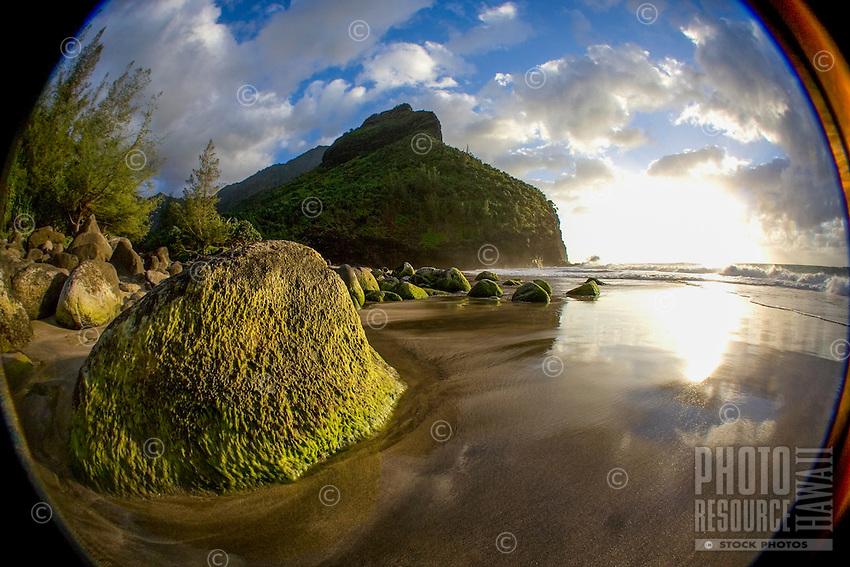 Sunset at Hanakapi'ai Beach, Na Pali Coast, Kaua'i.