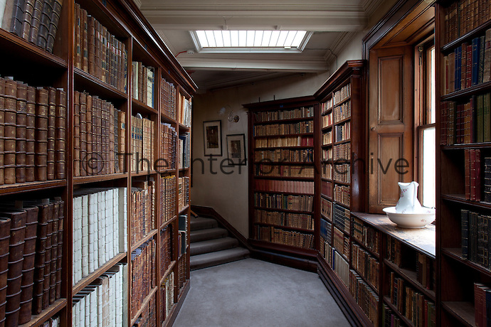 The library's overspill into the corridor
