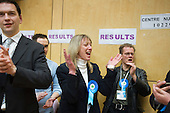 Conservative party supporters cheer as they hold a ward in the Camden Council local elections 2010, despite defeat of the ruling Lib-Dem Conservative coalition by the Labour Party.