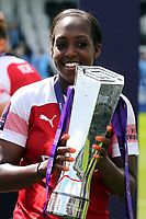 Danielle Carter of Arsenal Women with the FA Women's Super League Trophy  during Arsenal Women vs Manchester City Women, FA Women's Super League Football at Meadow Park on 11th May 2019