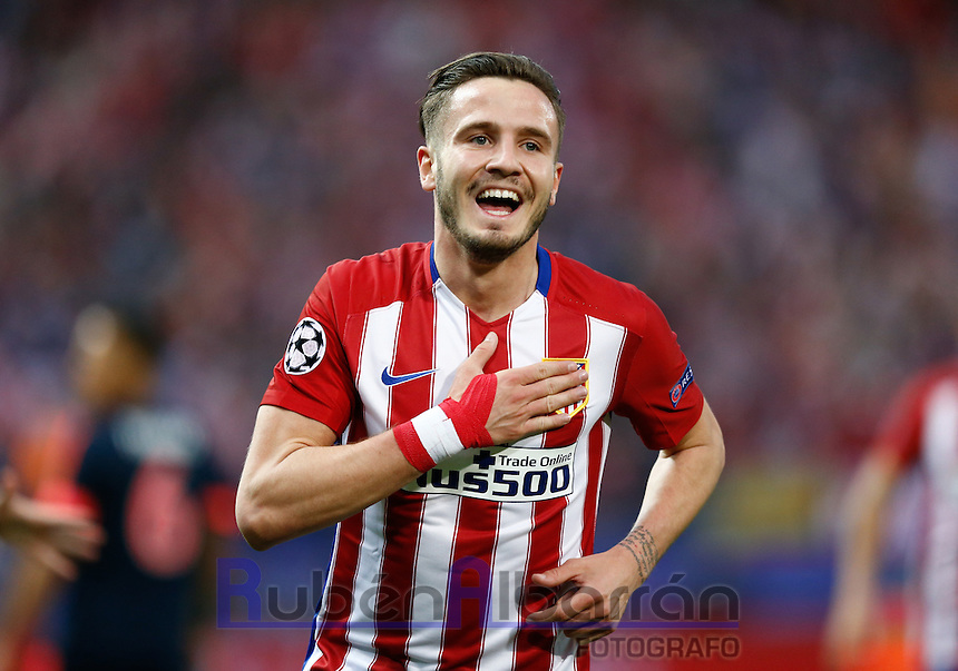 Atletico Madrid´s Spanish midfielder Saul celebrating during the UEFA Champions League match between Atletico Madrid and Fc Bayern Munich at the Vicente Calderon Stadium in Madrid, Wednesday, April 27, 2016.