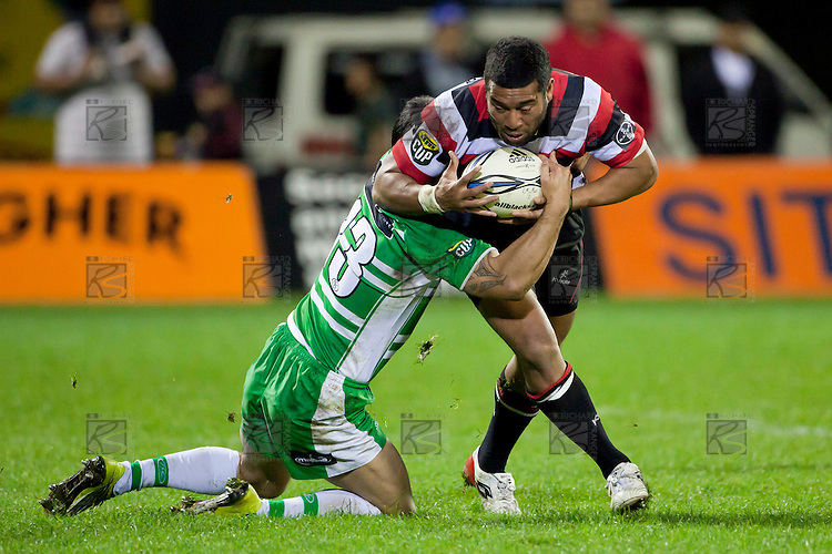 Shannon Paku tackles Siale Piutau. ITM Cup rugby game between Counties Manukau and Manawatu played at Bayer Growers Stadium on Saturday August 21st 2010..Counties Manukau won 35 - 14 after leading 14 - 7 at halftime.