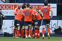 Alan Sheehan of Luton Town celebrates after he scores the opening goal of the game during the Sky Bet League 2 match between Luton Town and Barnet at Kenilworth Road, Luton, England on 31 December 2016. Photo by David Horn.