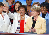 Boston, MA - July 29, 2004 -- United States Representative Nita Lowey (Democrat of New York) waves to supporters as her colleague, United States Representative Slaughter looks on at the 2004 Democratic National Convention in Boston, Massachusetts on July 29, 2004..Credit: Ron Sachs / CNP