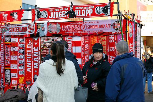 26.11.2016. Anfield, Liverpool, England. Premier League Football. Liverpool versus Sunderland. A memorobilia stall outside the stadium