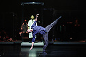 London, UK. 27.09.2015. Yabin Studio & Eastman/Sidi Larbi Cherkaoui presents GENESIS, at Sadler's Wells. The dancers are: Yabin Wang, Li Chao, Kazutomi Kozuki, Elias Lazaridis, Johnny Lloyd, Fang Yin, Qing Wang. The musicians are: Manjunath B Chandramouli, Barbara Drazkowska, Kaspy Kusosa Kuyubuka, Woojae Park. Picture shows: Johnny Lloyd (front), Kazutomi Kozuki (back). Photograph © Jane Hobson.