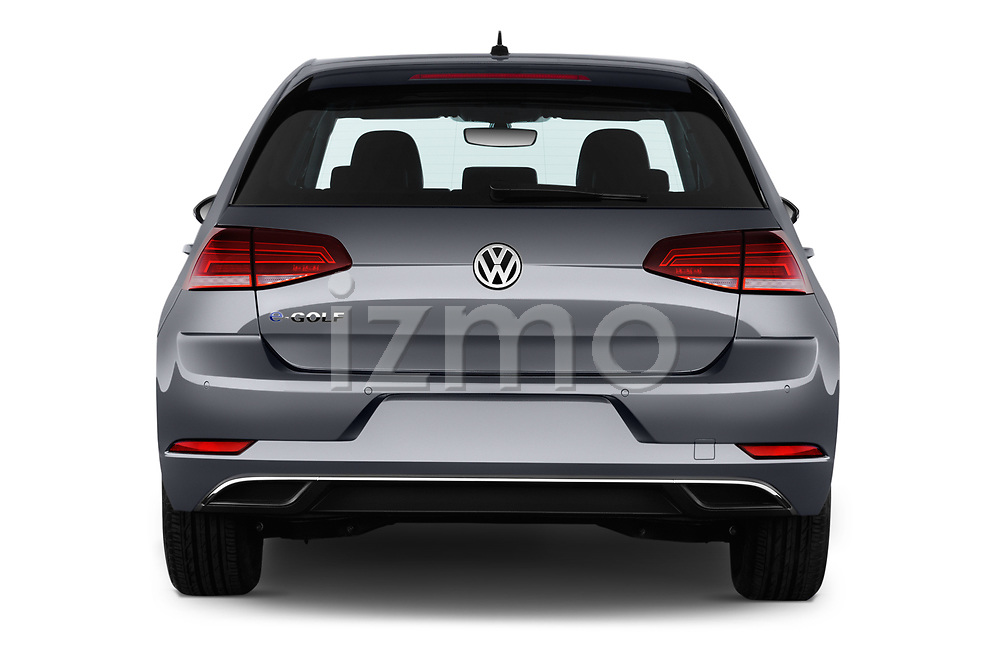 Straight rear view of 2017 Volkswagen Golf e 5 Door Hatchback Rear View  stock images