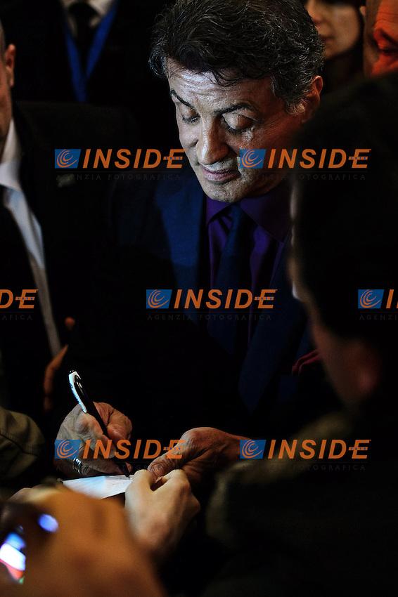 Sylvester Stallone signs autographs <br /> Roma 07-01-2014 Cinema The Space Moderno <br /> Grudge Match - Il Grande Match Premiere<br /> Foto Andrea Staccioli / Insidefoto