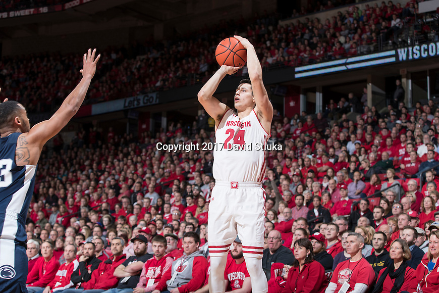 Wisconsin Badgers guard Bronson Koenig (24) shoots the ball during an NCAA Big Ten Conference men's college basketball game against the Penn State Nittany Lions Tuesday, January 24, 2017, in Madison, Wis. Badgers win 82-55. (Photo by David Stluka)