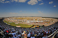 Oct 5, 2008; Talladega, AL, USA; NASCAR Sprint Cup Series drivers race through the tri-oval during the Amp Energy 500 at the Talladega Superspeedway. Mandatory Credit: Mark J. Rebilas-