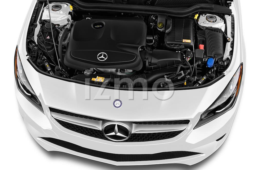 Car Stock 2016 Mercedes Benz CLA Class CLA250 4 Door Sedan Engine  high angle detail view