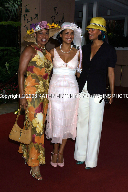 ©2003 KATHY HUTCHINS / HUTCHINS PHOTO AGENCY.THE ROWELL FOSTER CHILDREN'S POSITIVE PLAN.HIGH TEA AT THE BEVERLY HILLS HOTEL.BEVERLY HILLS, CA.JUNE 8, 2003..ROLANDA WATTS.VICTORIA ROWELL.TRACEE ELLIS ROSS