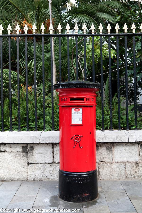 Red Post Office pillar box, Gibraltar, British terroritory in southern Europe