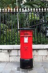 Red Post Office pillar box, Gibraltar, British terroritory in southern Europe