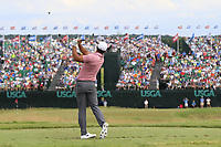 Brooks Koepka (USA) tees off the par3 9th tee during Saturday's Round 3 of the 117th U.S. Open Championship 2017 held at Erin Hills, Erin, Wisconsin, USA. 17th June 2017.<br /> Picture: Eoin Clarke | Golffile<br /> <br /> <br /> All photos usage must carry mandatory copyright credit (&copy; Golffile | Eoin Clarke)