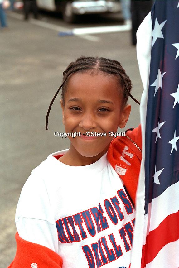 Parade performer age 11 at Cinco de Mayo festival.  St Paul Minnesota USA