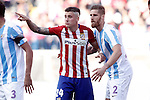 Atletico de Madrid's Jose Maria Gimenez (l) and Malaga CF's Raul Arbentosa during La Liga match. April 23,2016. (ALTERPHOTOS/Acero)