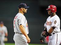 Apr. 12, 2011; Phoenix, AZ, USA; St. Louis Cardinals first baseman Albert Pujols (left) and Arizona Diamondbacks outfielder Justin Upton at Chase Field. Mandatory Credit: Mark J. Rebilas-