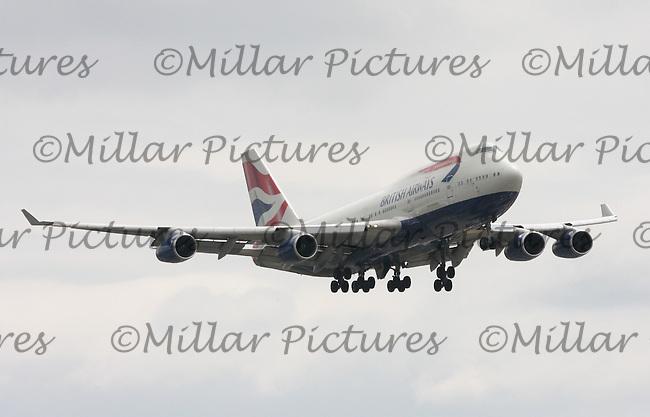 A British Airways Boeing 747-436 Registration G-CIVT landing at London Heathrow Airport on 29.5.11.