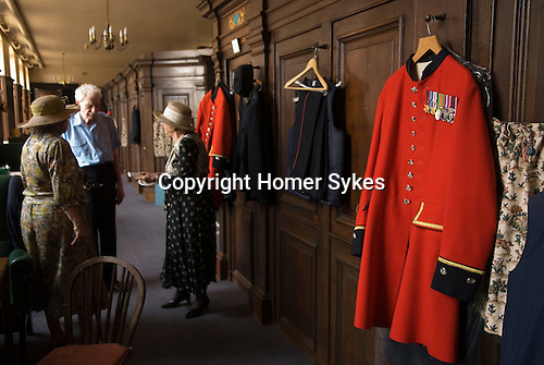 "Royal Hospital Chelsea  London. Interior pensioners rooms. Each Chelsea Pensioners has a ""cabin "" connected by exterior corridor. The Founders Day.  London SW3. England. 2006."