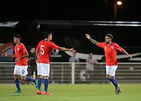 Ignacio Jara celebrates scoring Chile's opening goal during Chile Under-21 vs England Under-20, Tournoi Maurice Revello Football at Stade Parsemain on 7th June 2019