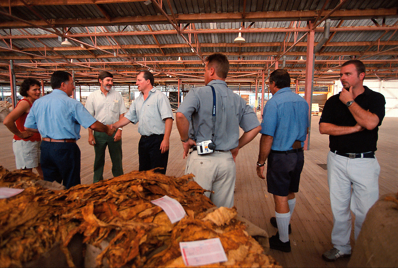 Last Sale - The Buyers (l to r) Vinka Prizmic, Joe Miott (PM), Rob Edgley and Phil Hando (BATA), Bodyguard, Vince Giacometti and Rob (BATA), Mareeba Sales Floor, Mareeba, 2004.