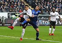 Simon Falette (Eintracht Frankfurt) klaert gegen Guido Burgstaller (FC Schalke 04) - 16.12.2017: Eintracht Frankfurt vs. FC Schalke 04, Commerzbank Arena, 17. Spieltag Bundesliga