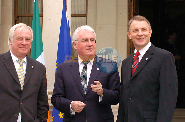 Dublin, Ireland. EU Troika. Chris Patton (R), Dick Roche (C) Minister of State for European Affairs and Phil Goff (L) New Zealand Minister of Foreign Affairs and Trade after there meeting in Farmleigh House in Dublin, Ireland 29th March 2004.Photo Fran Caffrey Newsfile/AFP....This Picture has been sent to you by Newsfile Ltd..The Studio,.Millmount Abbey,.Drogheda,.Co. Meath,.Ireland..Tel: +353(0)41-9871240.Fax: +353(0)41-9871260.ISDN: +353(0)41-9871010.www.newsfile.ie..general email: pictures@newsfile.ie