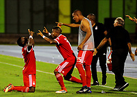 BARRANCABERMEJA -COLOMBIA, 01-09-2018: Cristian Dajome (Izq) jugador de America de Cali celebra después de anotar un gol a Alianza Petrolera durante partido fecha 7 de la Liga Águila II 2018 disputado en el estadio Daniel Villa Zapata de la ciudad de Barrancabermeja. / Cristian Dajome (L) player of America de Cali celebrates after scoring a goal to Alianza Petrolera during match for the date 7 of the Aguila League II 2018 played at Daniel Villa Zapata stadium in Barrancebermeja city. Photo: VizzorImage / Jose Martinez / Cont