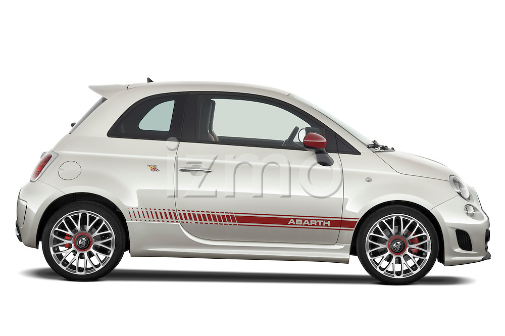 Passenger side profile view of a 2009 Fiat 500 Abarth 3 door hatchback.
