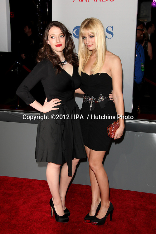 LOS ANGELES - JAN 11:  Kat Dennings; Beth Behrs.. arrives at  People's Choice Awards 2012 at Nokia Theater at LA Live on January 11, 2012 in Los Angeles, CA
