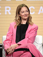 "BEVERLY HILLS - AUGUST 2: Judy Greer onstage during the ""Kidding"" panel at the Showtime portion of the Summer 2019 TCA Press Tour at the Beverly Hilton on August 2, 2019 in Los Angeles, California. (Photo by Frank Micelotta/PictureGroup)"