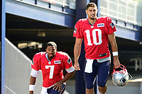 August 1, 2017: New England Patriots quarterback Jacoby Brissett (7) and quarterback Jimmy Garoppolo (10) make their way to the practice field at the New England Patriots training camp held at Gillette Stadium, in Foxborough, Massachusetts. Eric Canha/CSM