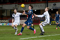 3rd March 2020; Dens Park, Dundee, Scotland; Scottish Championship Football, Dundee FC versus Alloa Athletic; Oliver Crankshaw of Dundee is closed down by Iain Flannigan and Liam Dick of Alloa Athletic