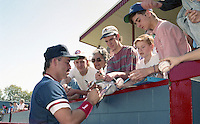 Boston Red Sox Mike Greenwell signs autographs during spring training circa 1992 at Chain of Lakes Park in Winter Haven, Florida.  (MJA/Four Seam Images)