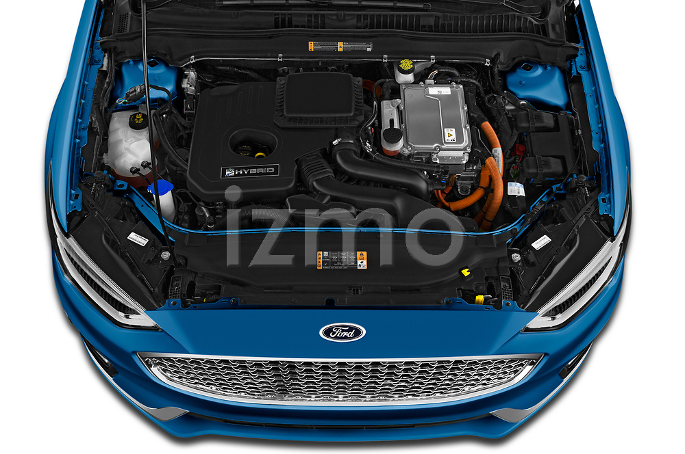 Car stock 2019 Ford Fusion-Hybrid Titanium  4 Door Sedan engine high angle detail view