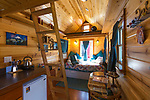The interior of The Tandem Tiny House at the Caravan, the Tiny House Hotel, Portland, OR, USA