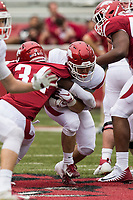 Hawgs Illustrated/BEN GOFF <br /> Tate Vestal, Arkansas running back, carries in the third quarter Saturday, April 6, 2019, during the Arkansas Red-White game at Reynolds Razorback Stadium.