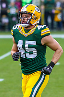 Green Bay Packers linebacker Vince Biegel (45) during a National Football League game against the Tampa Bay Buccaneers on December 2nd, 2017 at Lambeau Field in Green Bay, Wisconsin. Green Bay defeated Tampa Bay 26-20. (Brad Krause/Krause Sports Photography)