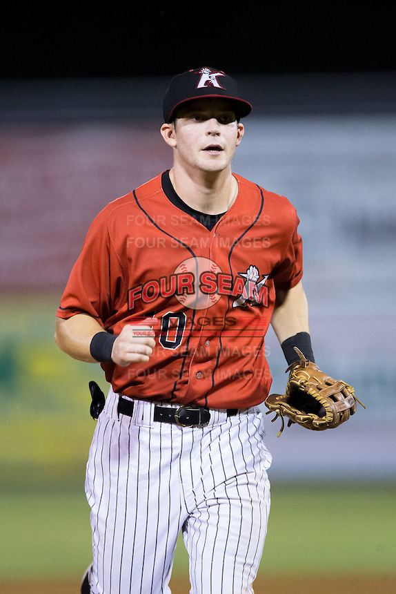 Kannapolis Intimidators right fielder Jake Fincher (10) jogs off the field between innings of the game against the West Virginia Power at Kannapolis Intimidators Stadium on August 20, 2016 in Kannapolis, North Carolina.  The Intimidators defeated the Power 4-0.  (Brian Westerholt/Four Seam Images)