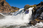 Rafting over the falls during a recreational water release on the Pit River near Fall River Mills, California