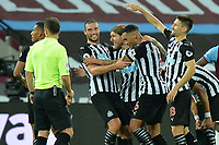 Jeff Hendrick of Newcastle United scores the second Goal and celebrates with Andy Carroll of Newcastle United  during West Ham United vs Newcastle United, Premier League Football at The London Stadium on 12th September 2020