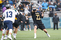 Washington, DC - February 23, 2019: Towson Tigers Timmy Monahan (22) scores a goal during game between Towson and Georgetown at  Cooper Field in Washington, DC.   (Photo by Elliott Brown/Media Images International)