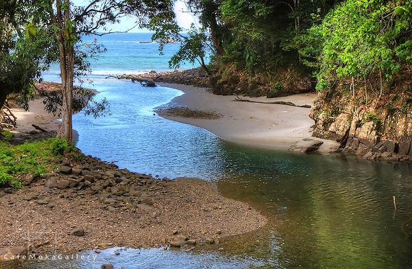 Shark river as it meets the sea at Matelot, Trinidad
