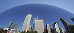 The Chicago skyline reflected back into a huge art sculpture on Lakeshore Drive in Chicago Illinois.