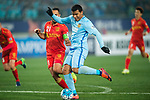 Jiangsu FC Forward Roger Beyker Martinez (R) fights for the ball with Adelaide United Defender Tarek Elrich (L) during the AFC Champions League 2017 Group H match between Jiangsu FC (CHN) vs Adelaide United (AUS) at the Nanjing Olympics Sports Center on 01 March 2017 in Nanjing, China. Photo by Marcio Rodrigo Machado / Power Sport Images