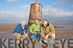 LIGHTHOUSE: John Breen  Jerry Kennelly and Cllr Johnny O'Connor who are concerned about the Point Tower, which has been damaged by erosion on Rossbeigh beach.   Copyright Kerry's Eye 2008