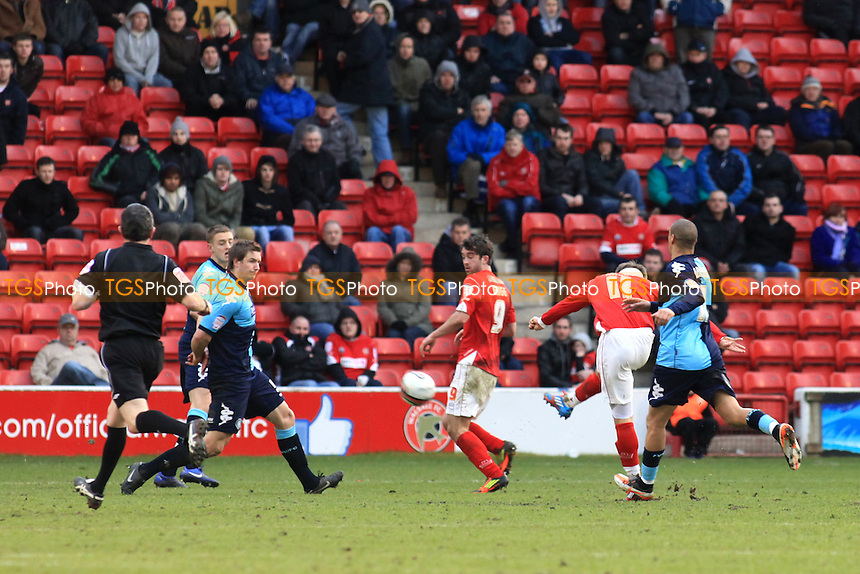Kevan Hurst scores Walsall's opening goal with a fine long range strike  - Walsall vs Wycombe Wanderers - nPower League One Football at the Banks's Stadium, Walsall - 18/02/12 - MANDATORY CREDIT: Paul Dennis/TGSPHOTO - Self billing applies where appropriate - 0845 094 6026 - contact@tgsphoto.co.uk - NO UNPAID USE.